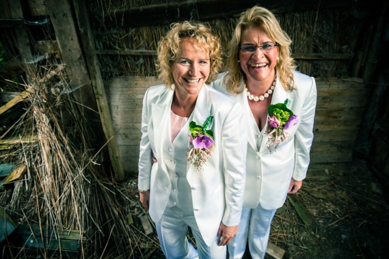 Witte satijnen bruidsbroekpak